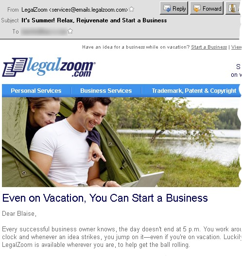 LegalZoom Vacation Suggestion